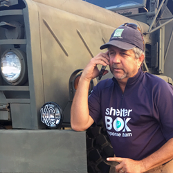 ShelterBox Response Team volunteer Tim Osburn in Texas on August 29, 2017