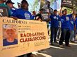 Farmworkers from Gerawan Farming protesting in Sacramento outside of the ALRB's 40th Anniversary Dinner