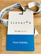 Google Elevator attendee badge for Pure Visibility
