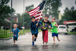 hurricane harvey, children running