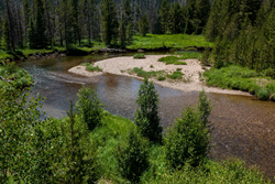 The headwaters of the Colorado River as it flows west out of Rocky Mountain National Park.