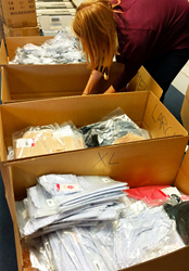 Peach employees pack undies for Harvey victims.