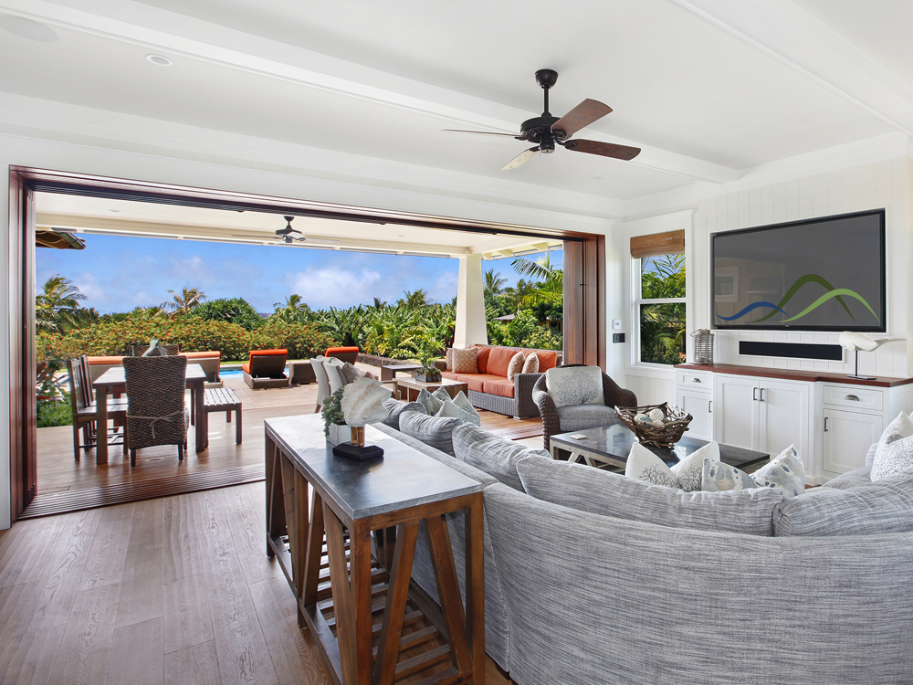 Glass Walls Open In The Living Room To LanaiVibrant Indoor And Outdoor Areas At Kukuiula Makai 36