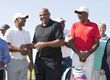 Marcus Allen, Charles Barkley and Julius Erving share a laugh after the Erving Playoffs at The 2017 Julius Erving Golf Classic