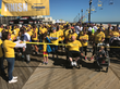 Walkers start their journey down the Seaside Heights boardwalk.