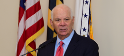 Senator Ben Cardin, D-Md., addresses MOAA Maryland chapter members in attendance at yesterday's luncheon.