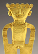 On offer at the Objects of Art LA,  from New York-based Art For Eternity, a detail of a Pre-Columbian Quimbaya gold figure wearing headdress and nose rings with spirals, circa 500 -1000 AD