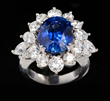18K White Gold, Diamond and Sapphire Cocktail Ring, estimated at $35,000-45,000.