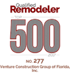 Venture Construction Group of Florida Recognized as One of America's Top Remodelers By Qualified Remodeler Top 500