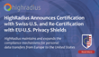 HighRadius Announces Certification with Swiss-U.S. and Re-Certification with EU-U.S. Privacy Shields