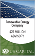 US Capital Partners Advises on $25 Million Financing for a Leading Renewable Energy Company