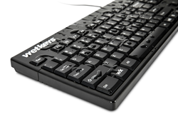 Angle view of wet Traditional Rigid Plastic Computer Keyboard KBWKABS104-BK