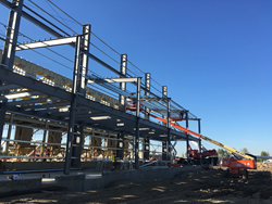 Kelowna's Metal Structure Concepts has just started building a new steel building to be used as a wood pellet processing plant in Entwistle, AB