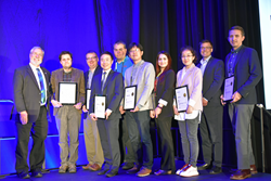 SPIE 2017 Rising Researchers were introduced in the plenary session during SPIE Defense + Commercial Sensing in Anaheim in April, by SPIE President Glenn Boreman (far left).