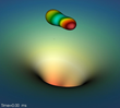 Simulated snapshots of two black holes merging and forming a final black hole. Credit: RIT's Center for Computational Relativity and Gravitation, Nicole Rosato