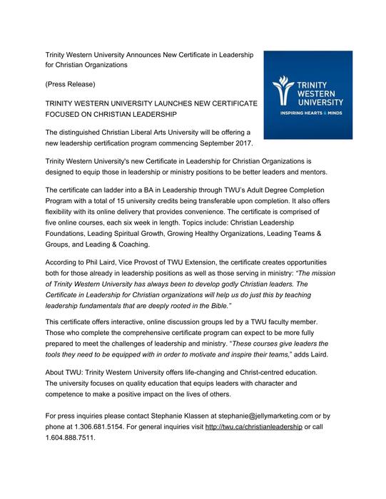 Trinity Western University Announces New Certificate In Leadership
