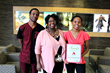 Scholarship recipient Rudaina Brown (R) is joined by brother Rudaine and mother Dr. Hargrove-Brown.