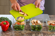 The three components – cutting board, optional second cutting surface and the scale – work cohesively.