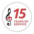 Children's Music Fund 15th Year of Service Logo