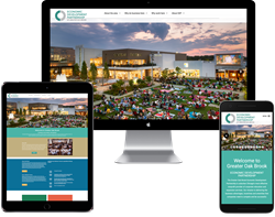 The new Greater Oakbrook Chamber of Commerce's Economic Development Partnership website featuring responsive design for all common devices and platforms