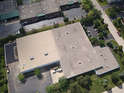 A rooftop view of Screenflex headquarters