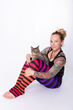 Celebrity Yoga Instructor Vanessa Van Noy of Headstands for Hunger with Dan the Cat