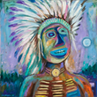 Jim Denomie (Ojibwe, born 1955) Blue Eyed Chief, 2008 Oil on canvas Museum Purchase: Eiteljorg Fellowship