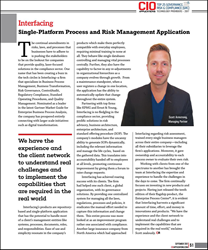 Interfacing is proud to announce that CIO Applications magazine has named the Enterprise Process Center® (EPC) in its list of Top 25 Governance, Risk and Compliance (GRC) solutions for 2017. The CIO Applications editorial team conducted extensive research