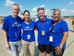 Brian Holloway, VP of Marketing, Oma George, Chief Retail Officer, Jim Hayes, President & CEO, and Rosalind Bishop, Joint Base Andrews Branch Manager, stop for a quick photo during the 2017 Air Show and Expo.