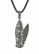 Sculpted knife pendant with damascus blade
