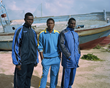 Somaro, 19, Bouba, 19, and Abdoul, 22, experienced a particularly rough journey and all expressed their trauma of what was faced at sea.  Copyright Daniel Castro Garcia