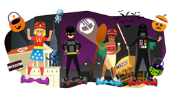 Batman, Moana, Darth Vader and Wonder Woman Hoverboard Halloween Costumes.