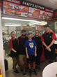 "MDA Ambassador ""Mighty"" Matt with Casey's employees at store location #1098 in Lees Summit, MO."