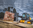 The JCB Teleskid is the world's only skid steer and compact track loader with a telescopic boom, allowing operators to lift above 13 feet, reach forward 8 feet and dig 3 feet below grade.