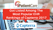 iPatientCare Got Listed Among The Most Popular EHR Rankings of Capterra-2017