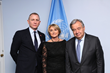 Actor and UN Global Advocate for the Elimination of Mines and Explosive Hazards (UNMAS) Daniel Craig; UNMAS director, Agnes Marcaillou; and United Nations Secretary-General António Guterres