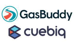 GasBuddy and Cuebiq logos