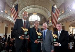 2017 Ellis Island Family Heritage Awards honorees Kareem Abdul-Jabbar, Robin Roberts and Jonathan and Andrew Tisch. Photo by Diane Bondareff.