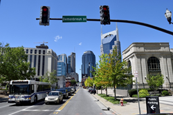 downtown nashville featuring public transportation and vehicles