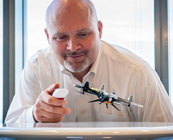 Brad Pedersen flying the QFO Labs-designed tilt-to-fly quadcopter