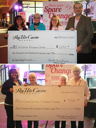 Sky Ute General Manager Krista Red-Garcia along with Michael Broderick and Tracy Leppert present  checks to Carol McGuire & BJ Boucher representing the Cancer Coalition of South West Colorado and Ginna Harbison representing The Cancer Resource Center
