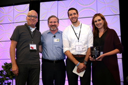 Photo of David Kolbe with La Macchia representatives Shawn Gulyas, A.J. Kruse and Rebecca Rachoner
