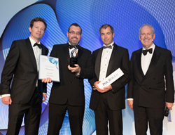 Clearvision's Gerry Tombs, CEO, and Simon Wood, Marketing Director, accept the 'Dynamic Growth of the Year Award'