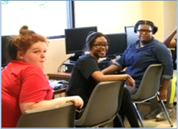 Students at the 14th Street Community Center using technology donated by Sage Sustainable Electronics, Charles Schwab & Co., Inc, and Huntington National Bank