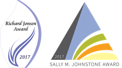 "2017 award logos. One is a triangle design with the words ""Sally M Johnstone"" the other is a wavy shape with ""Richard Jonsen"""
