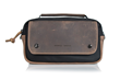 Nintedo Switch Arcade Gaming Case—black and chocolate leather, front view