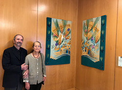 The tapestries and wall quilt were commissioned by the Felder family and donated to The Reutlinger Community in honor of their mother Hannah Felder z'l.