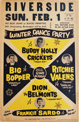 Buddy Holly and the Crickets Original Rock N Roll 1950s Boxing Style Concert Poster