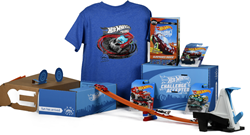 Each box includes a Hot Wheels collectible car, over 15-pieces of Track Builder, an activity book with stunts and exclusive Hot Wheels apparel