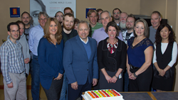 Tim Cluke and Andrea Timlin of the Ottawa Hospital Foundation celebrate 9 years of campaign contributions with the Kongsberg Geospatial team.
